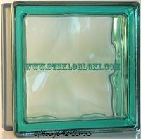 Стеклоблок Vetroarredo металлизированный волна окрашенный в массе turchese q19/0