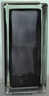 Стеклоблок Vitrablok окрашенный внутри половинка волна черный 240х110х80