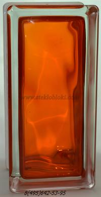 Стеклоблок Vitrablok окрашенный внутри половинка волна оранжевый 240х110х80