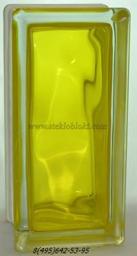 Стеклоблок Vitrablok окрашенный внутри половинка волна желтый 240х110х80