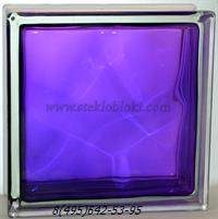 Стеклоблок Vitrablok окрашенный внутри волна аметист 240х240х80