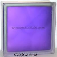 Стеклоблок Vitrablok окрашенный внутри волна аметист полуматовый 190х190х100