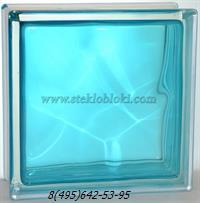 Стеклоблок Vitrablok окрашенный внутри волна бирюза 190х190х100