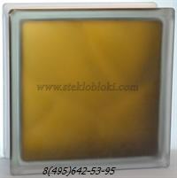 Стеклоблок Vitrablok окрашенный внутри волна бронзовый полуматовый 190х190х100