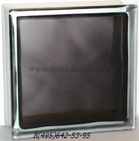 Стеклоблок Vitrablok окрашенный внутри волна черный 110х110х80