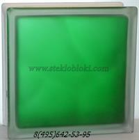 Стеклоблок Vitrablok окрашенный внутри волна изумрудный полуматовый 110х110х80