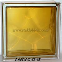 Стеклоблок Vitrablok окрашенный внутри волна коричневый 190х190х100