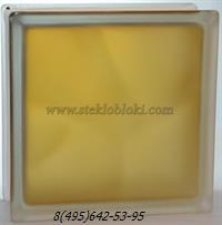 Стеклоблок Vitrablok окрашенный внутри волна коричневый матовый 190х190х100