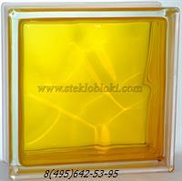 Стеклоблок Vitrablok окрашенный внутри волна медовый 240х240х80