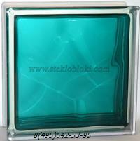 Стеклоблок Vitrablok окрашенный внутри волна морская волна 110х110х80