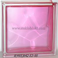 Стеклоблок Vitrablok окрашенный внутри волна розовый 190х190х100