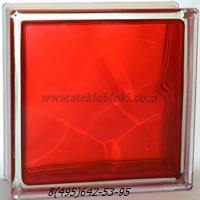 Стеклоблок Vitrablok окрашенный внутри волна рубиновый 190х190х100