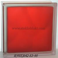 Стеклоблок Vitrablok окрашенный внутри волна рубиновый матовый 190х190х100