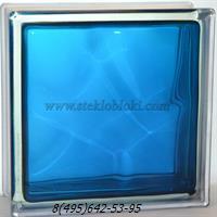 Стеклоблок Vitrablok окрашенный внутри волна синий 190х190х100