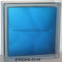 Стеклоблок Vitrablok окрашенный внутри волна синий полуматовый 190х190х100
