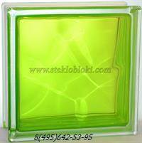 Стеклоблок Vitrablok окрашенный внутри волна тархун 190х190х100