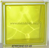 Стеклоблок Vitrablok окрашенный внутри волна желтый 190х190х100
