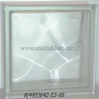 Стеклоблок Vitrablok волна бесцветный 190х190х100