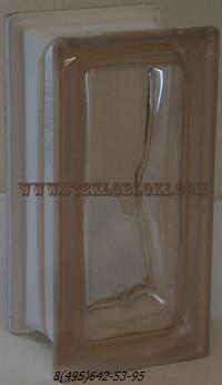 Стеклоблок Vetroarredo волна окрашенный в массе половинка rosa q19/0
