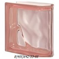 Стеклоблок Vetroarredo волна окрашенный в массе торцевой rosa q19/0