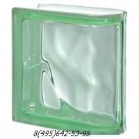 Стеклоблок Vetroarredo волна окрашенный в массе торцевой verde q19/0