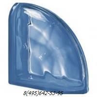 Стеклоблок Vetroarredo волна окрашенный в массе завершающий blu q19/0