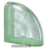 Стеклоблок Vetroarredo волна окрашенный в массе завершающий verde q19/0