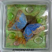 Стеклоблок Vitrablok декоративный бесцветный с наполнением внутри бабочки рт_017 а