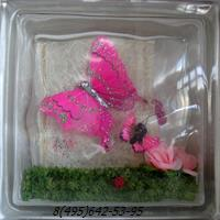 Стеклоблок Vitrablok декоративный бесцветный с наполнением внутри бабочки рт_018 а