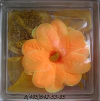 Стеклоблок Vitrablok декоративный бесцветный с наполнением внутри цветок рт_007 а