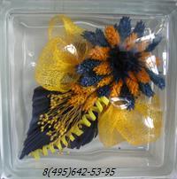 Стеклоблок Vitrablok декоративный бесцветный с наполнением внутри цветы рт_006 а