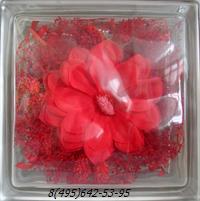 Стеклоблок Vitrablok декоративный бесцветный с наполнением внутри  цветы рт_008 а