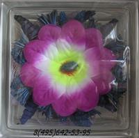 Стеклоблок Vitrablok декоративный бесцветный с наполнением внутри цветы рт_009 а