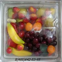 Стеклоблок Vitrablok декоративный бесцветный с наполнением внутри фрукты рт_002 а