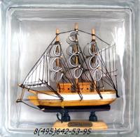 Стеклоблок Vitrablok декоративный бесцветный с наполнением внутри корабль мт_002 а