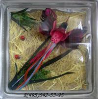 Стеклоблок Vitrablok декоративный бесцветный с наполнением внутри птица рт_012 а
