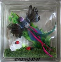 Стеклоблок Vitrablok декоративный бесцветный с наполнением внутри птица рт_019 а