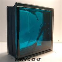 Стеклоблок Vitrablok окрашенный внутри черный бриллиант морская волна