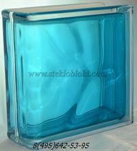 Стеклоблок Vitrablok окрашенный внутри торцевой волна бирюза