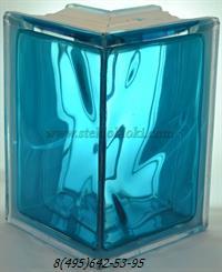 Стеклоблок Vitrablok окрашенный внутри угловой 90° волна бирюза