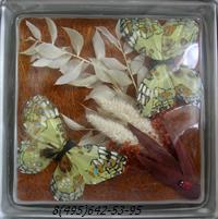 Стеклоблок Vitrablok декоративный бесцветный с наполнением внутри бабочки рт_017 б