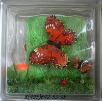 Стеклоблок Vitrablok декоративный бесцветный с наполнением внутри бабочки рт_018 б