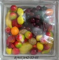Стеклоблок Vitrablok декоративный бесцветный с наполнением внутри фрукты рт_002 б