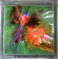 Стеклоблок Vitrablok декоративный бесцветный с наполнением внутри птица рт_012 б