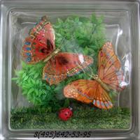 Стеклоблок Vitrablok декоративный бесцветный с наполнением внутри бабочки рт_016 д