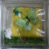 Стеклоблок Vitrablok декоративный бесцветный с наполнением внутри бабочки рт_018 д