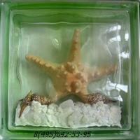 Стеклоблок Vitrablok декоративный цветной зеленый с наполнением внутри морская звезда мт_001 д