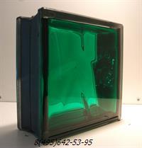 Стеклоблок Vitrablok окрашенный внутри черный бриллиант изумруд