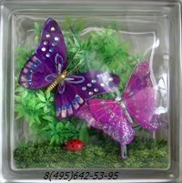 Стеклоблок Vitrablok декоративный бесцветный с наполнением внутри бабочки рт_016 е