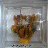 Стеклоблок Vitrablok декоративный бесцветный с наполнением внутри растения рт_001 е